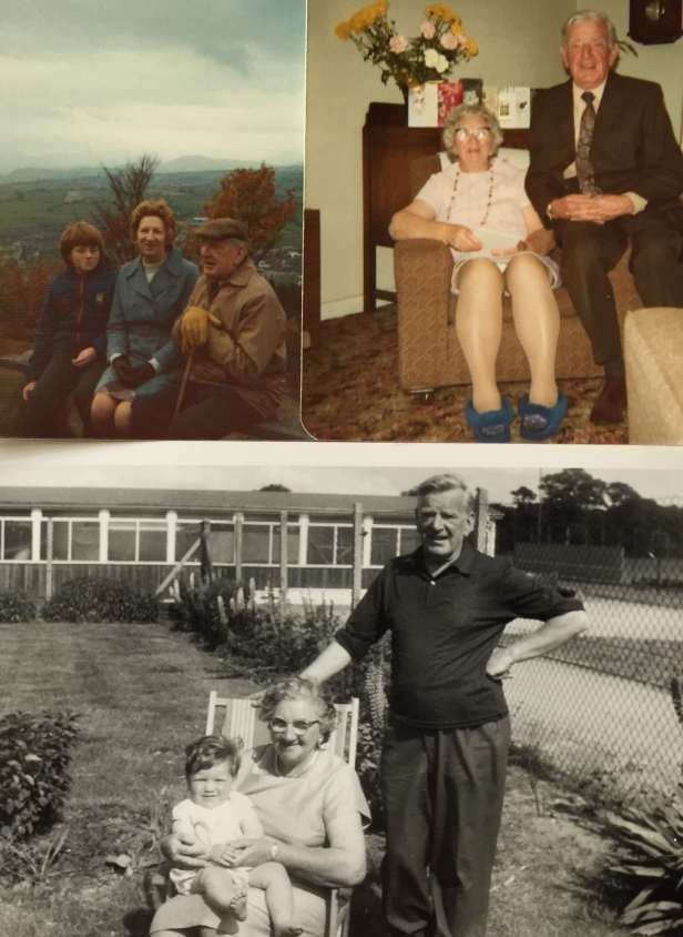 (Clockwise from top left) My Grandfather, Mother and Myself on one of his walks in Cumbria (1974), with my Grandmother on their Golden Wedding Day (1975), and my Grandparents and me on my first birthday (1965).